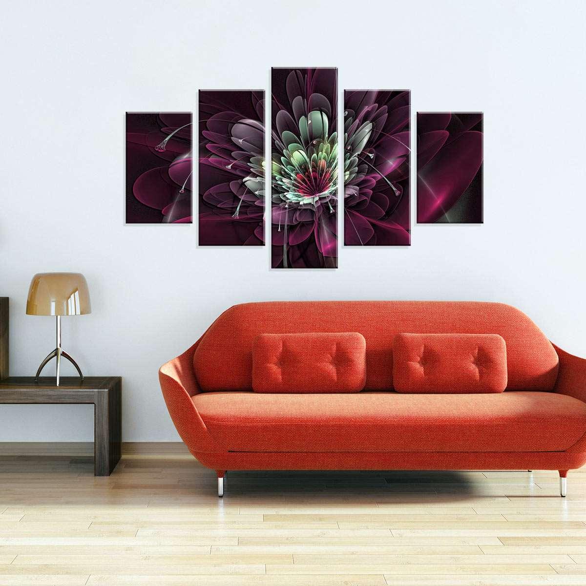 f42aa1a26 Conjunto de 5 Telas Decorativas em Canvas AbstratoFlor 90 x160