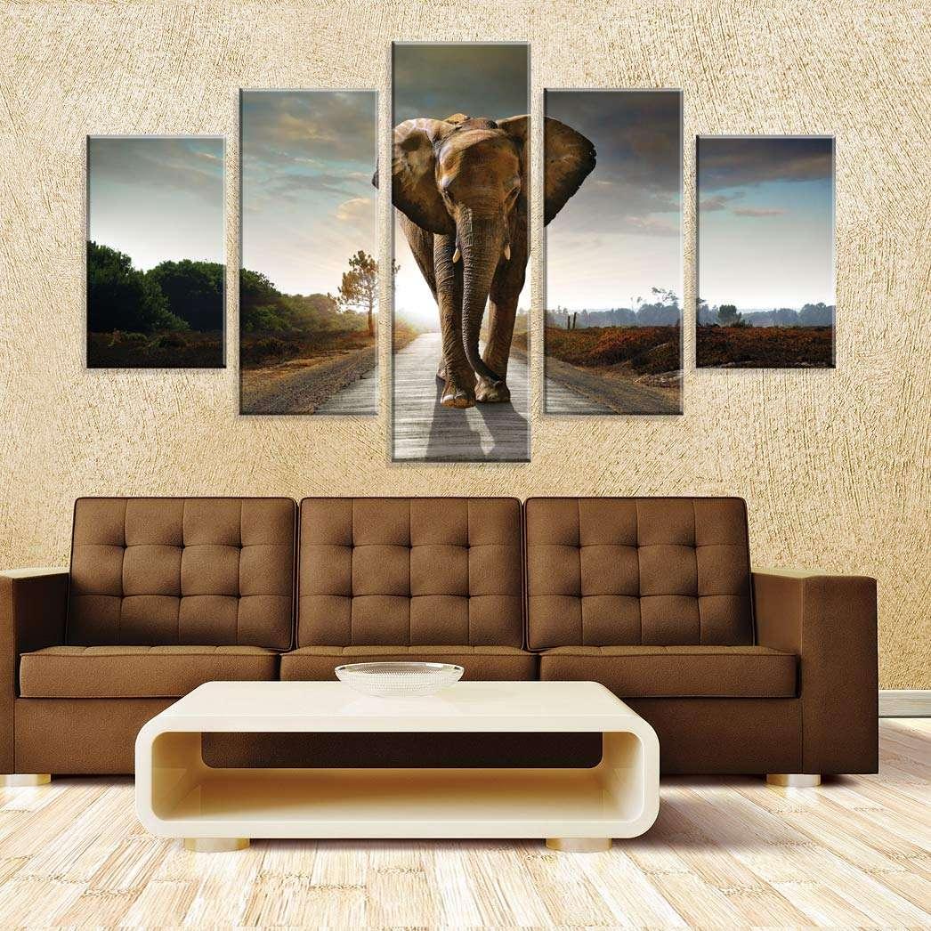 8a2bb4e21 Conjunto de 5 Telas Decorativas em Canvas Elefante Africano 90 x160