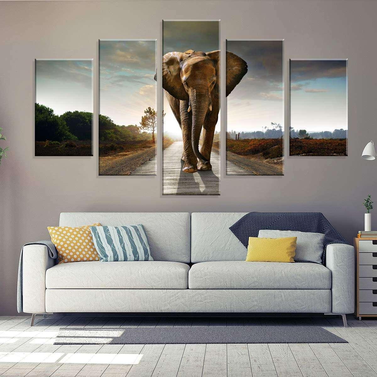 8132deb21 Conjunto de 5 Telas Decorativas em Canvas Elefante Africano 90 x160