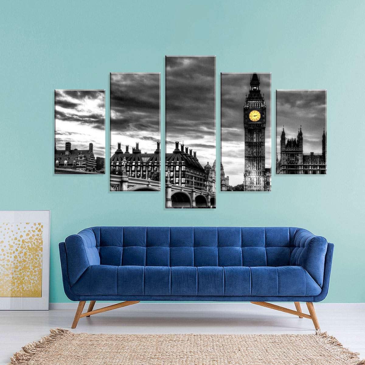 b2c8d273e Conjunto de 5 Telas Decorativas em Canvas London 110x55cm