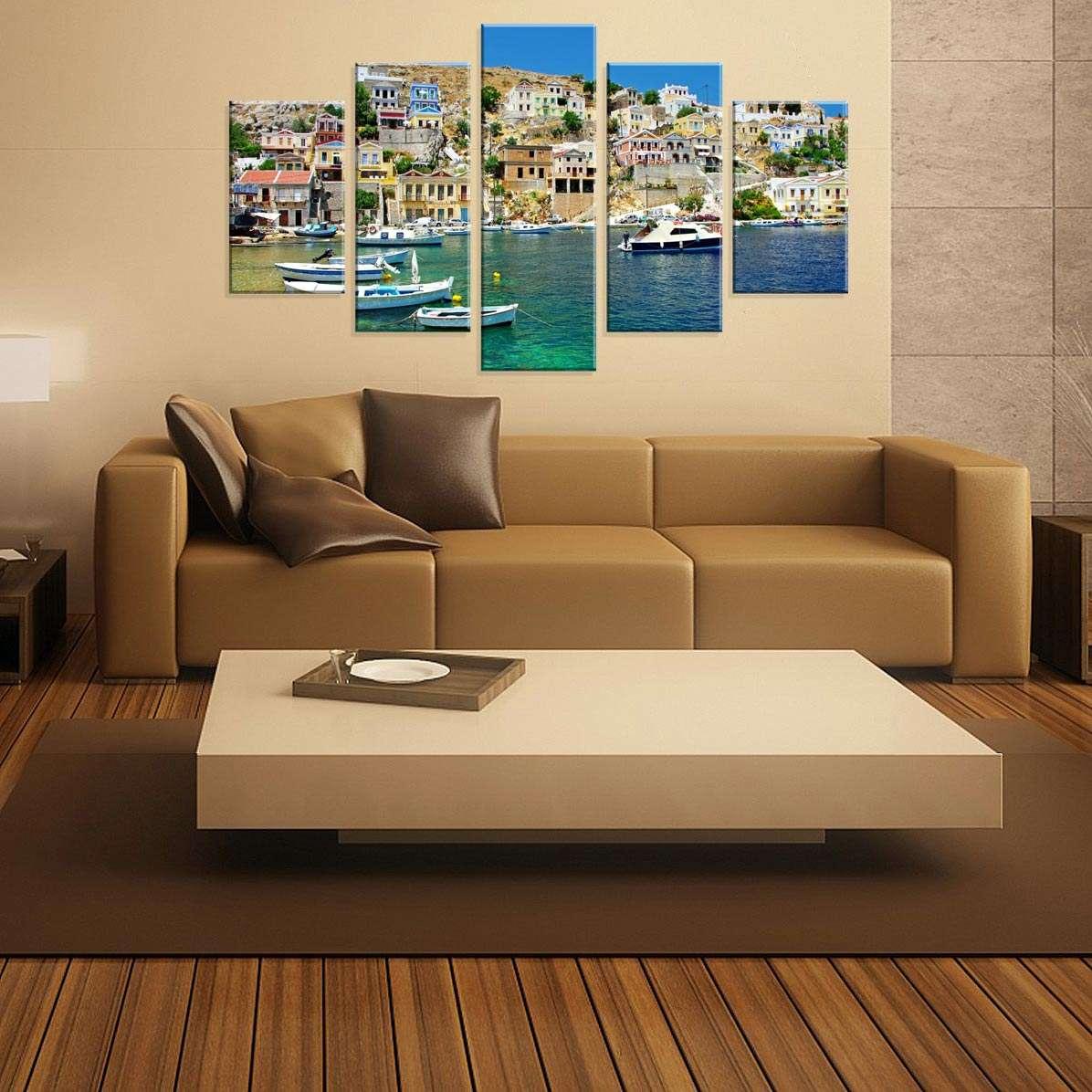 b6ef1a96b Conjunto de 5 Telas Decorativas em Canvas Paisagem 90 x160