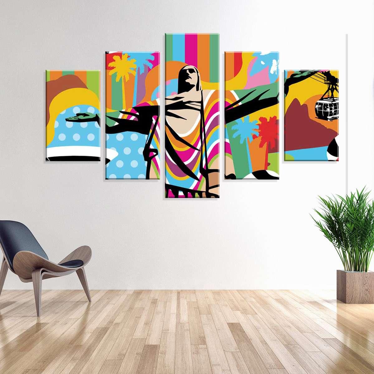 a33c445d4 Conjunto de 5 Telas Decorativas em Canvas Rio de Janeiro 90 x160
