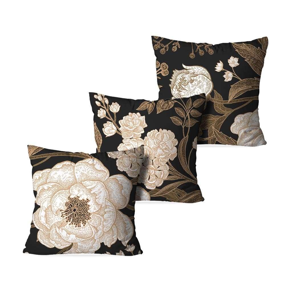 7c4b6c205 Kit 3 Capas para Almofadas Decorativas Floral Premium 35x35