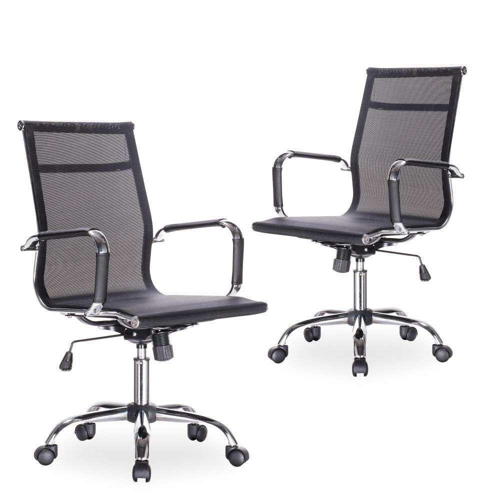 6137e3721 photo. Kit 02 Cadeiras Giratórias Para Escritório Executive Office Preto  photo