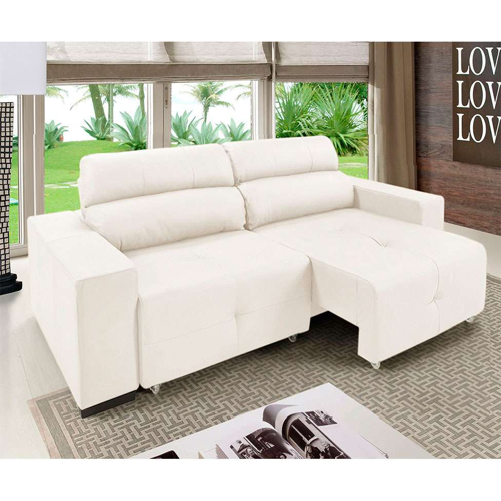 Sofá 3 Lugares Retrátil e Reclinável Xisto Couro Branco 200 cm