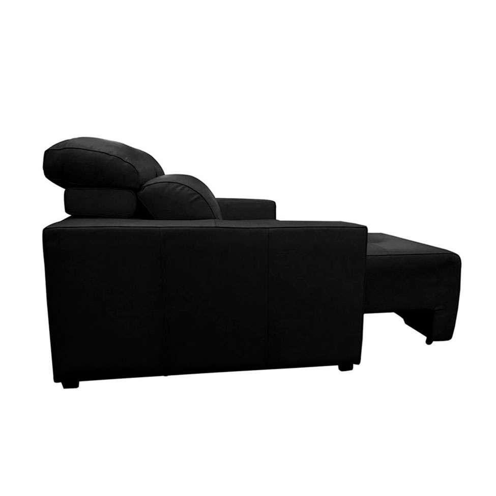 Sofá 3 Lugares Retrátil e Reclinável Xisto Couro Preto 200 cm