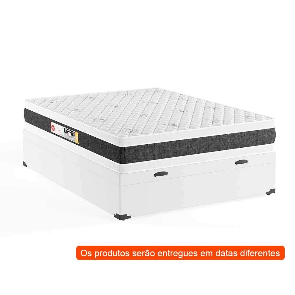 1e0ec77590 Cama Box Casal Premium com Baú Corino Branco com Colchão Black White D45  Branco