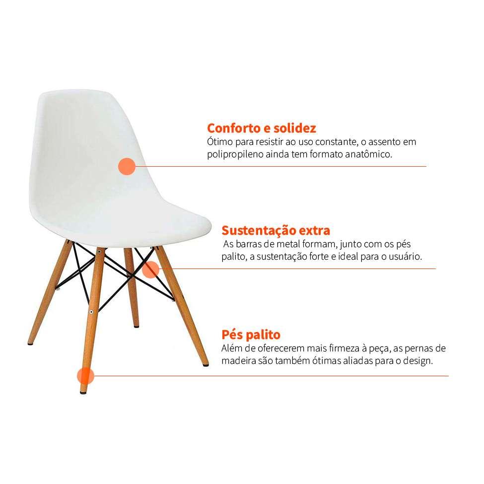 9c7ca592fc954 Conjunto com 4 Cadeiras Eames Eiffel Branco Base Madeira