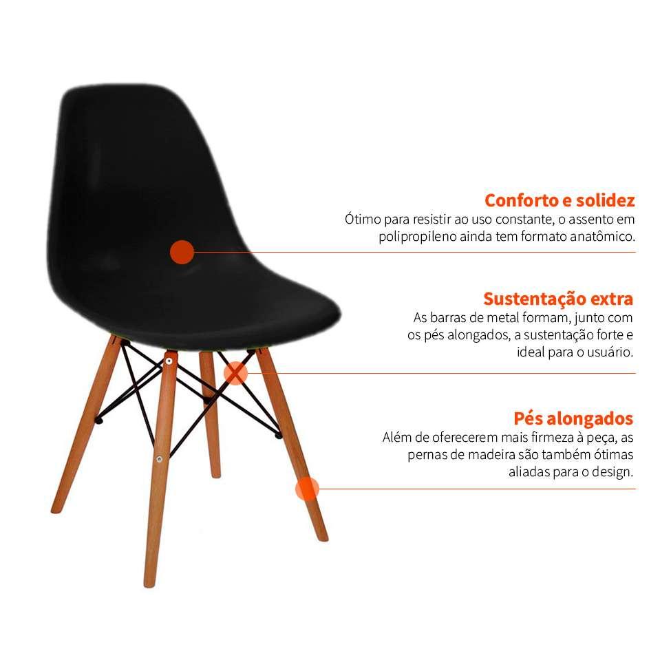 7e2b9e87ca395 Conjunto com 4 Cadeiras Eames Eiffel Preto Base Madeira