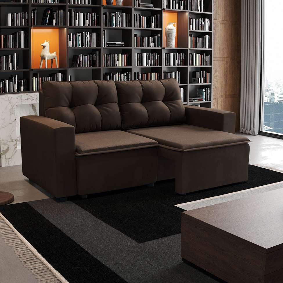 Sofá 3 Lugares Retrátil Amsterdã I Suede Marrom 180 cm