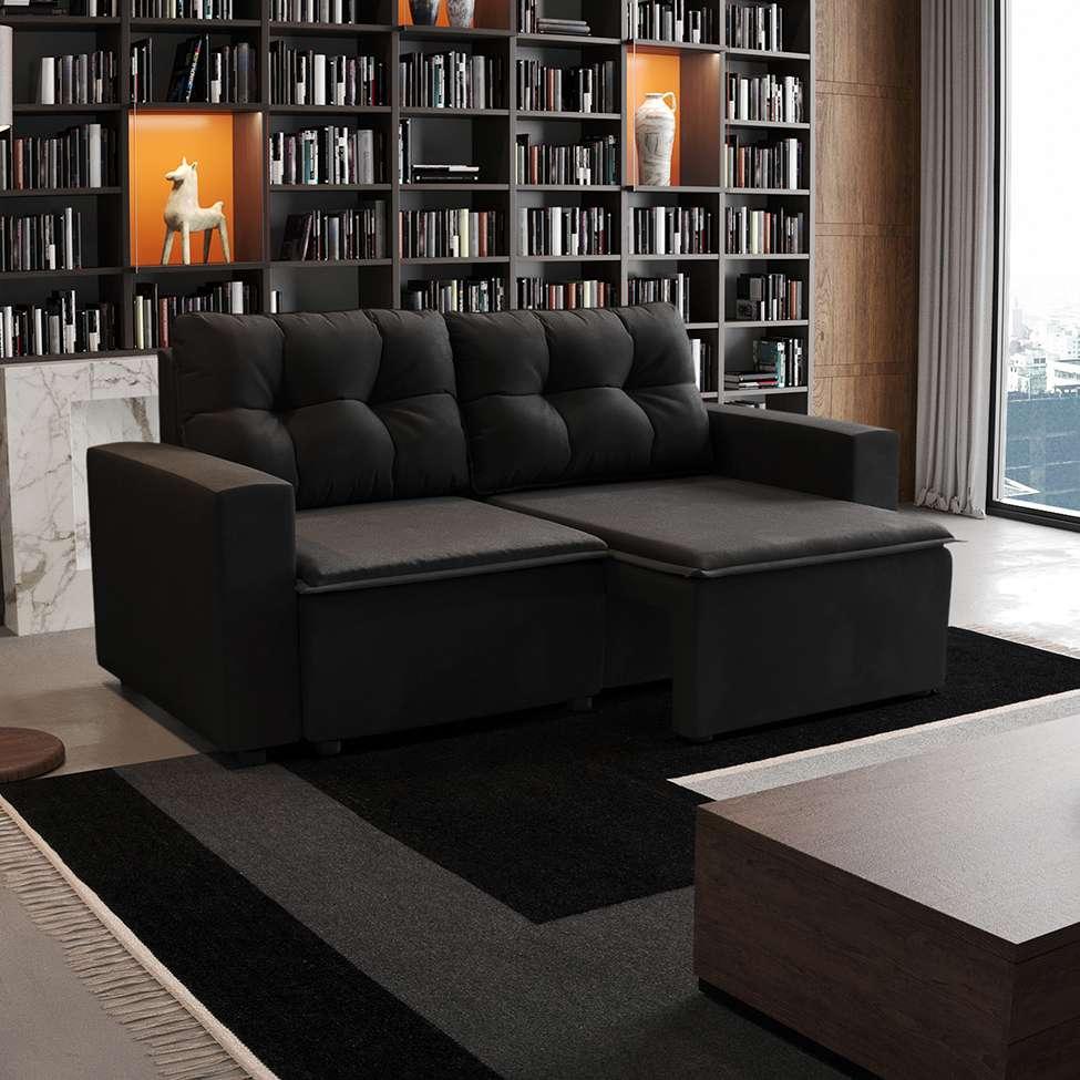 Sofá 3 Lugares Retrátil Amsterdã I Suede Preto 180 cm
