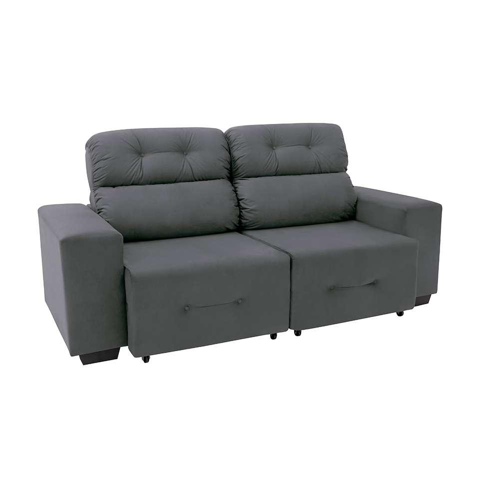 Sofa 3 Lugares Retratil E Reclinavel Plaza Suede Cinza
