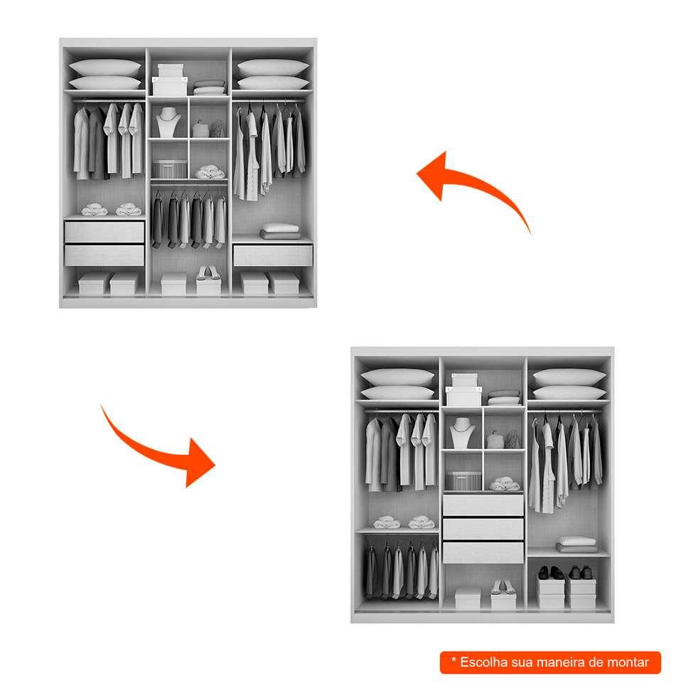 3f73394a4089 Guarda-Roupa Casal com Espelho Bipartido Trento 3PT 3GV Branco