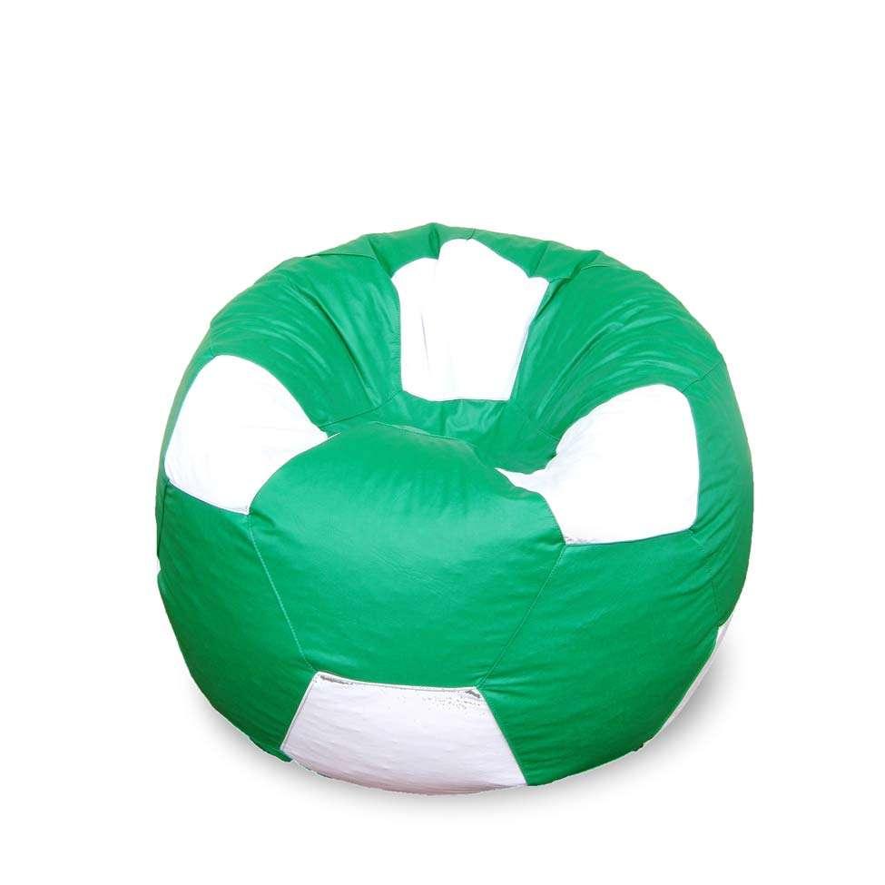 Puff Bola Super em Corino Verde   Branco cb5a21ef2c938