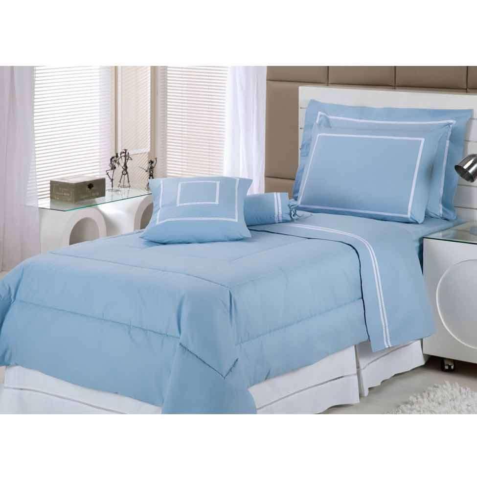 7496fe9414 Kit de Cama My Prince Blue Solteiro Azul 233 Fios