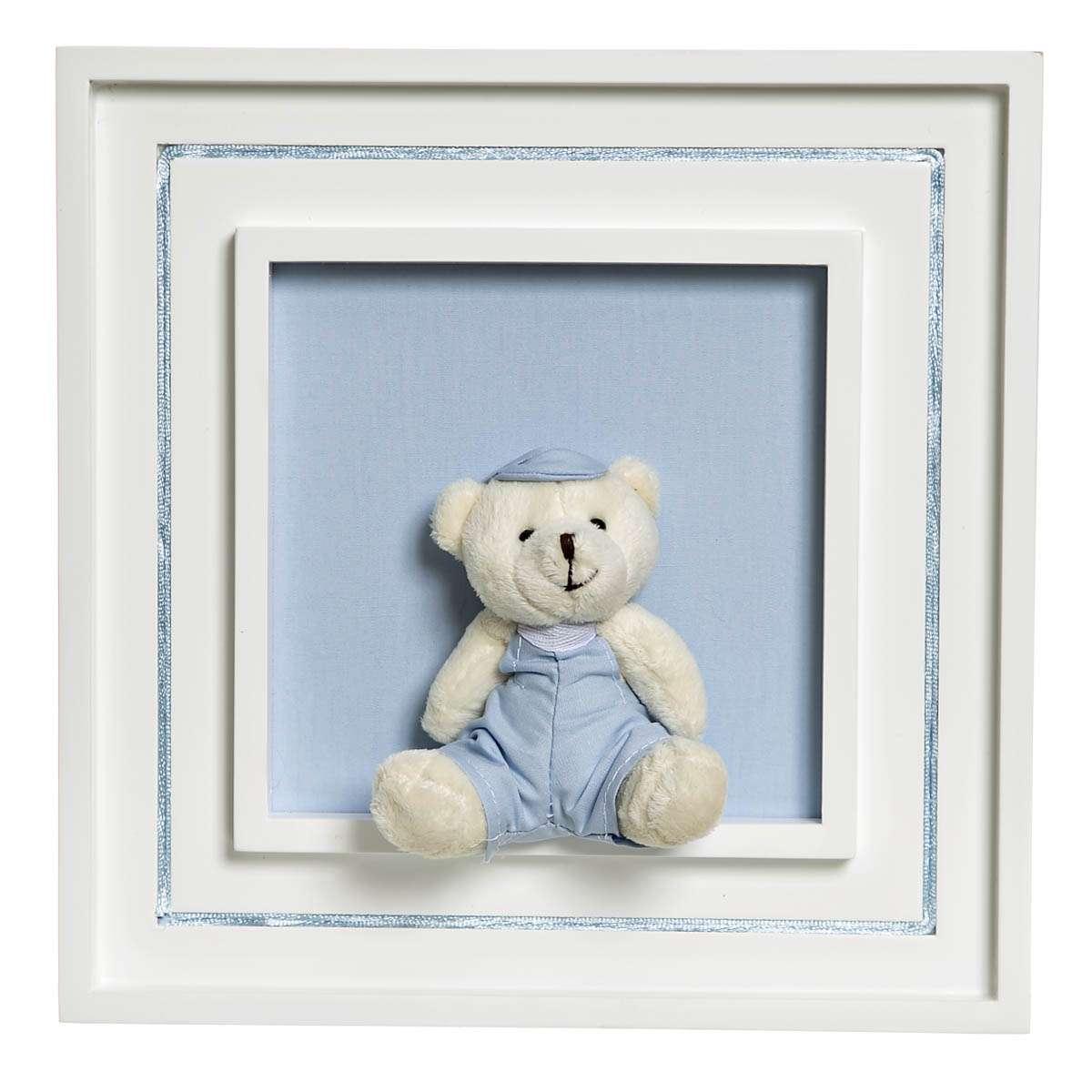 dfc6fb1fec945 Quadro Príncipe Com Urso Boné Quarto Bebê Infantil