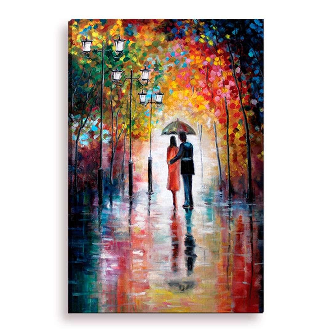 b290f3bc4 Tela Decorativa Estilo Pintura Amantes Sob Chuva - Tamanho  90x60cm (A-L)