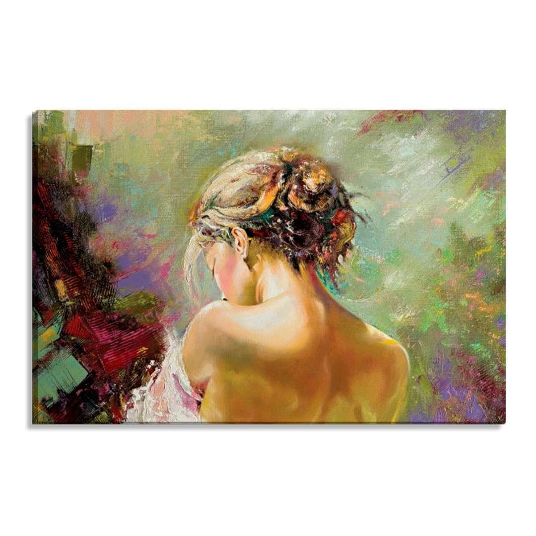 d207af28e Tela Decorativa Estilo Pintura Mulher com as Costas Expostas - Tamanho   60x90cm (A-L)