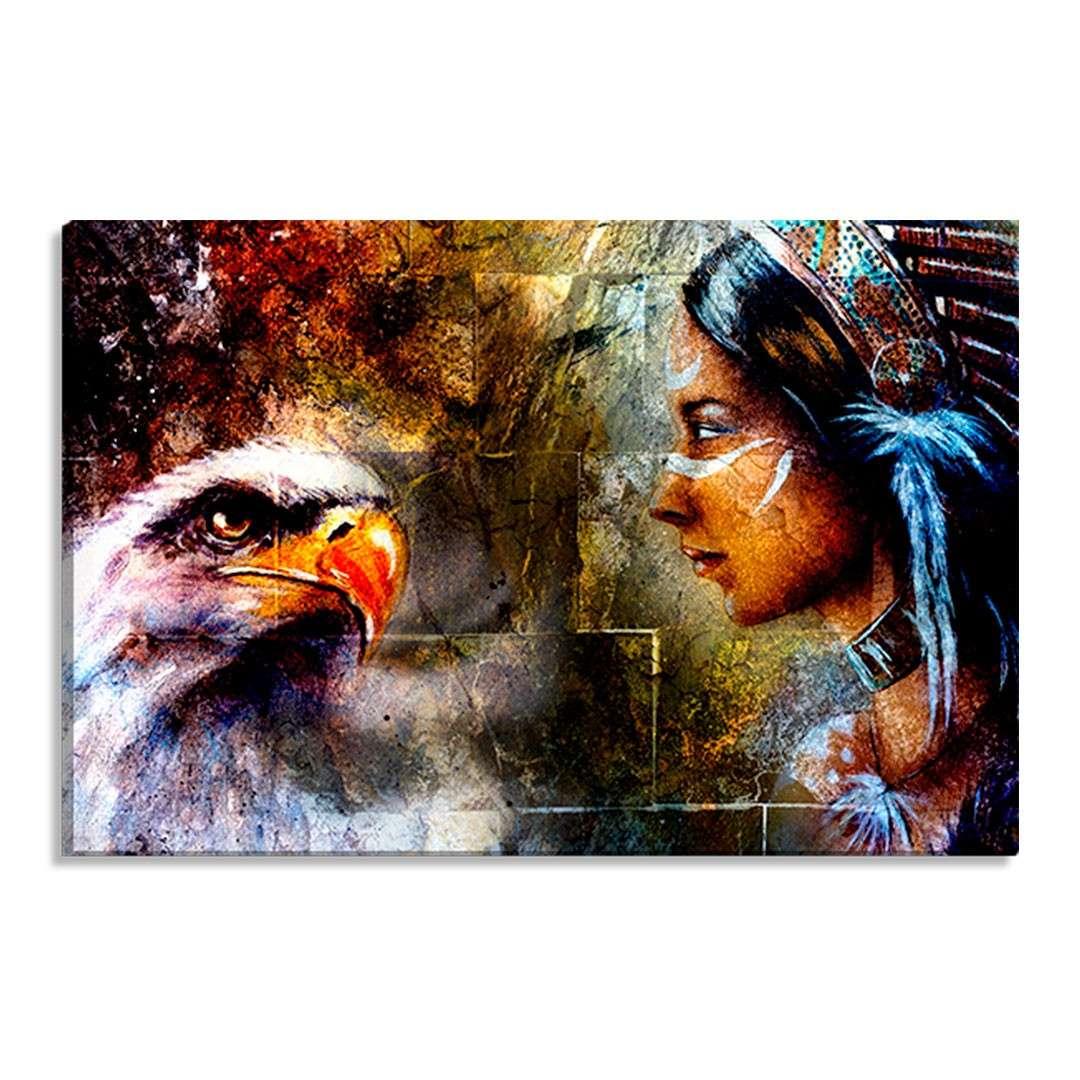 5f84d4c9a Tela Decorativa Estilo Pintura Xamã Índia Espírito Águia - Tamanho  60x90cm  (A-L)
