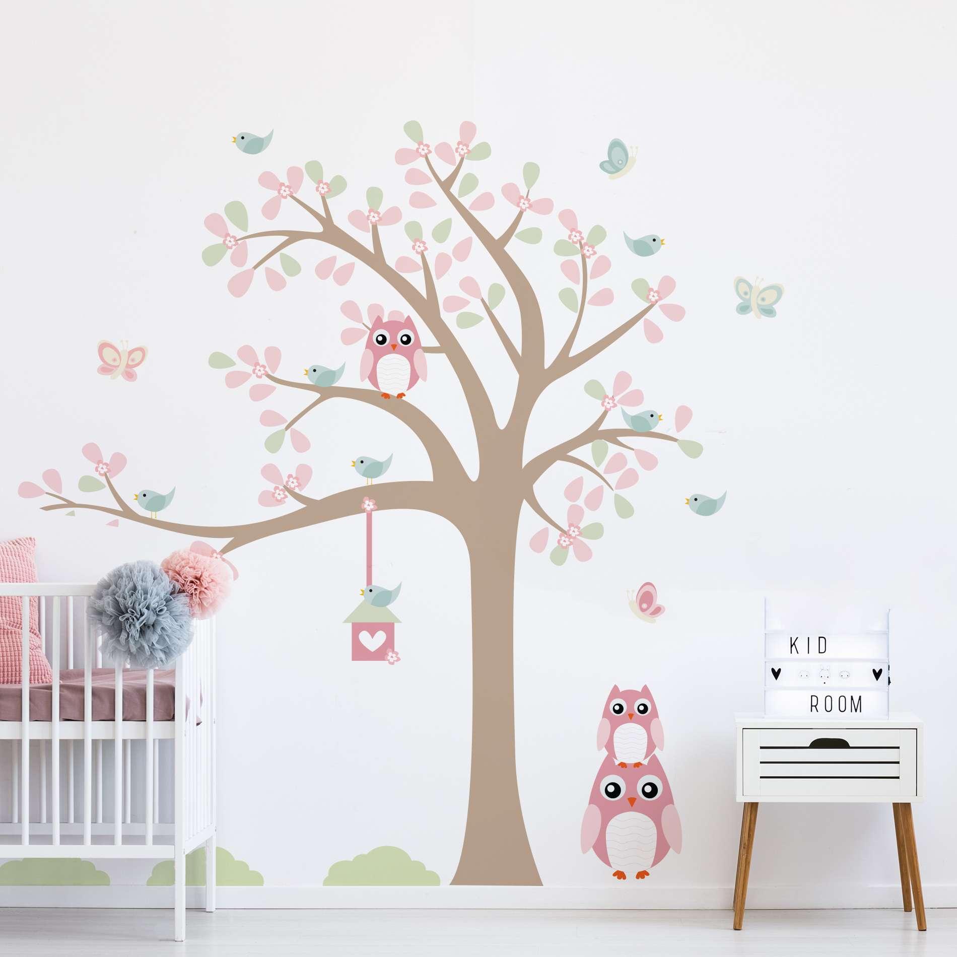 ffde7de68 Adesivo de Parede Infantil Árvore Baby Coruja