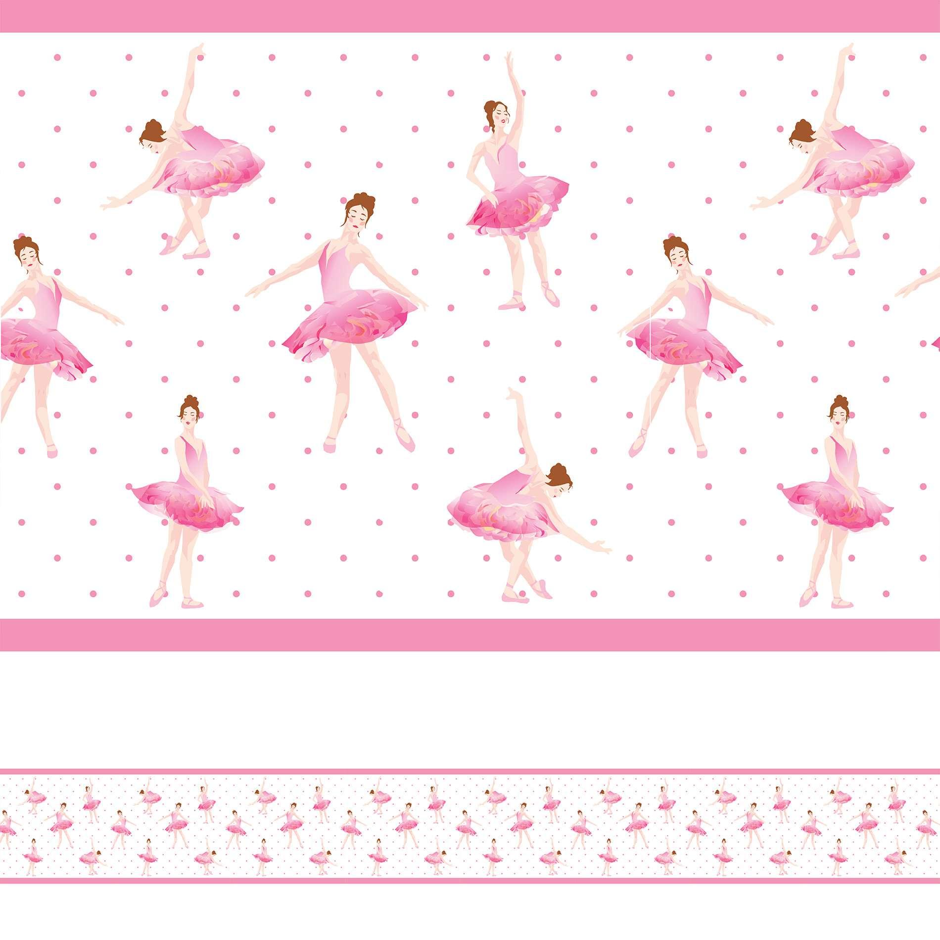 c0a19a5b0c Faixa Decorativa Adesiva Bailarina Infantil Rosa 6mx15cm