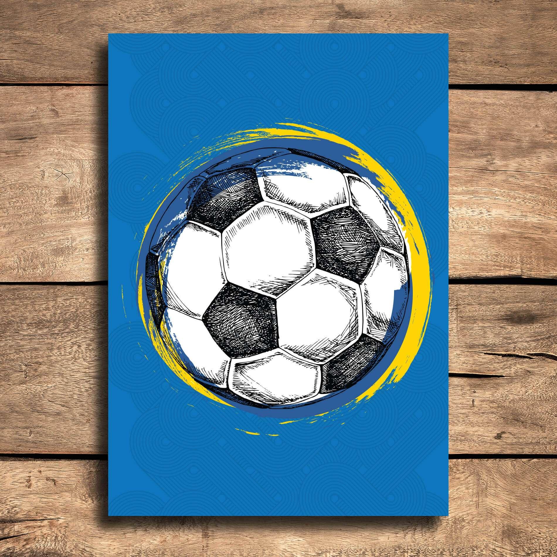 Placa Decorativa MDF Bola de Futebol Fundo Azul 30x40cm 068b98eb43f13
