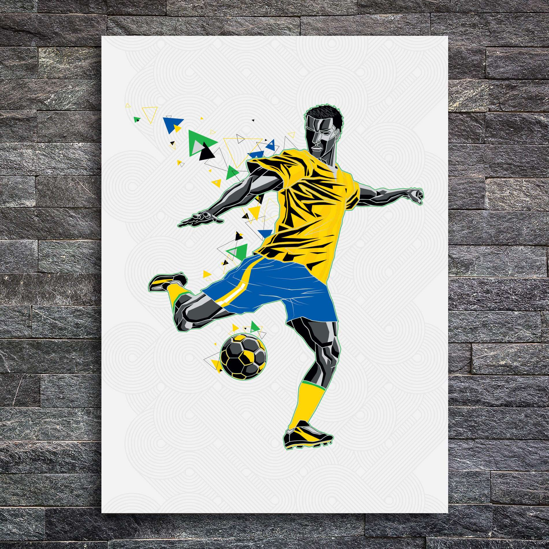 Placa Decorativa MDF Jogador de Futebol Chute a Gol 20x30cm 7c4dcceaf8267