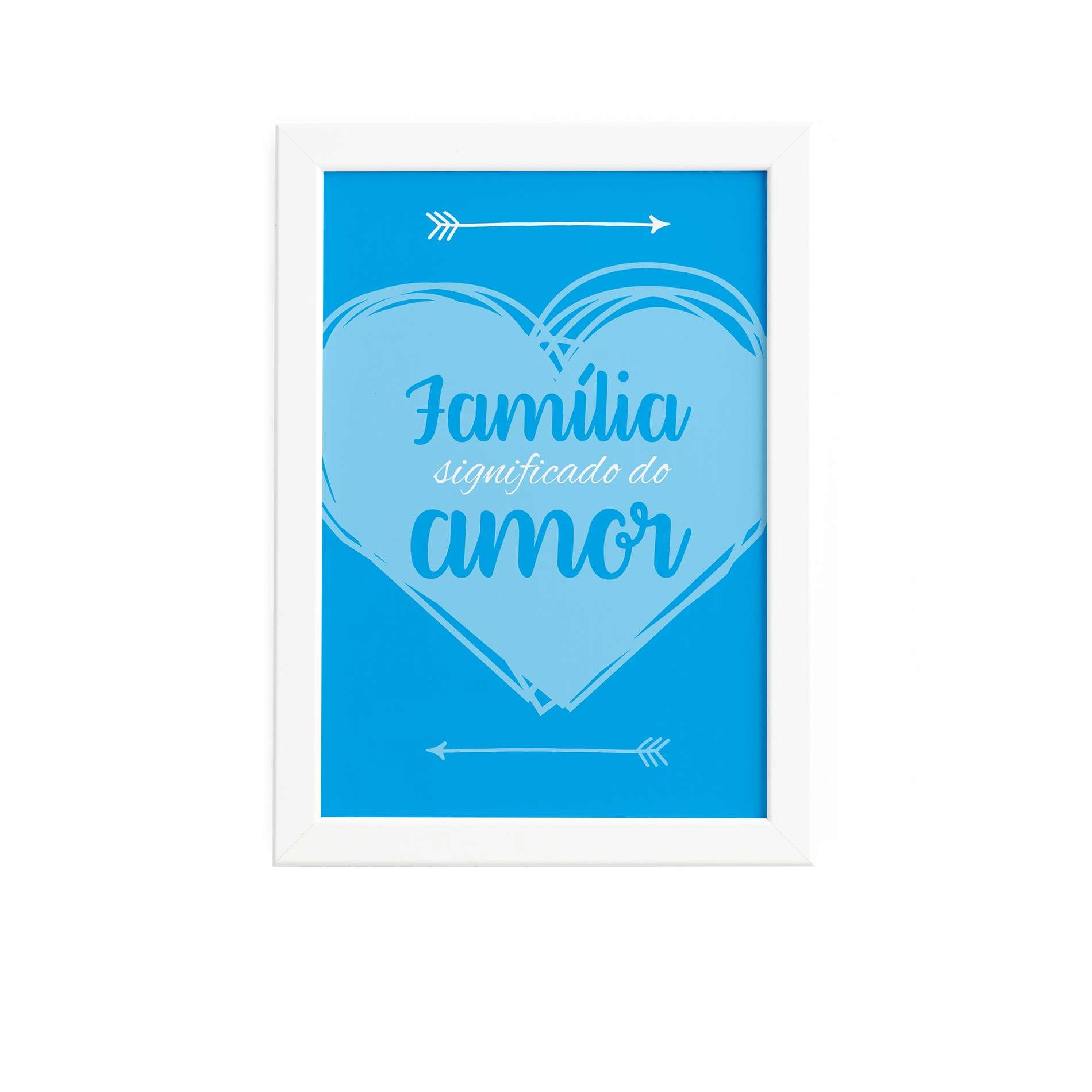 d602674e4 Quadro Decorativo Frase Família Amor 22x32cm Moldura Branca