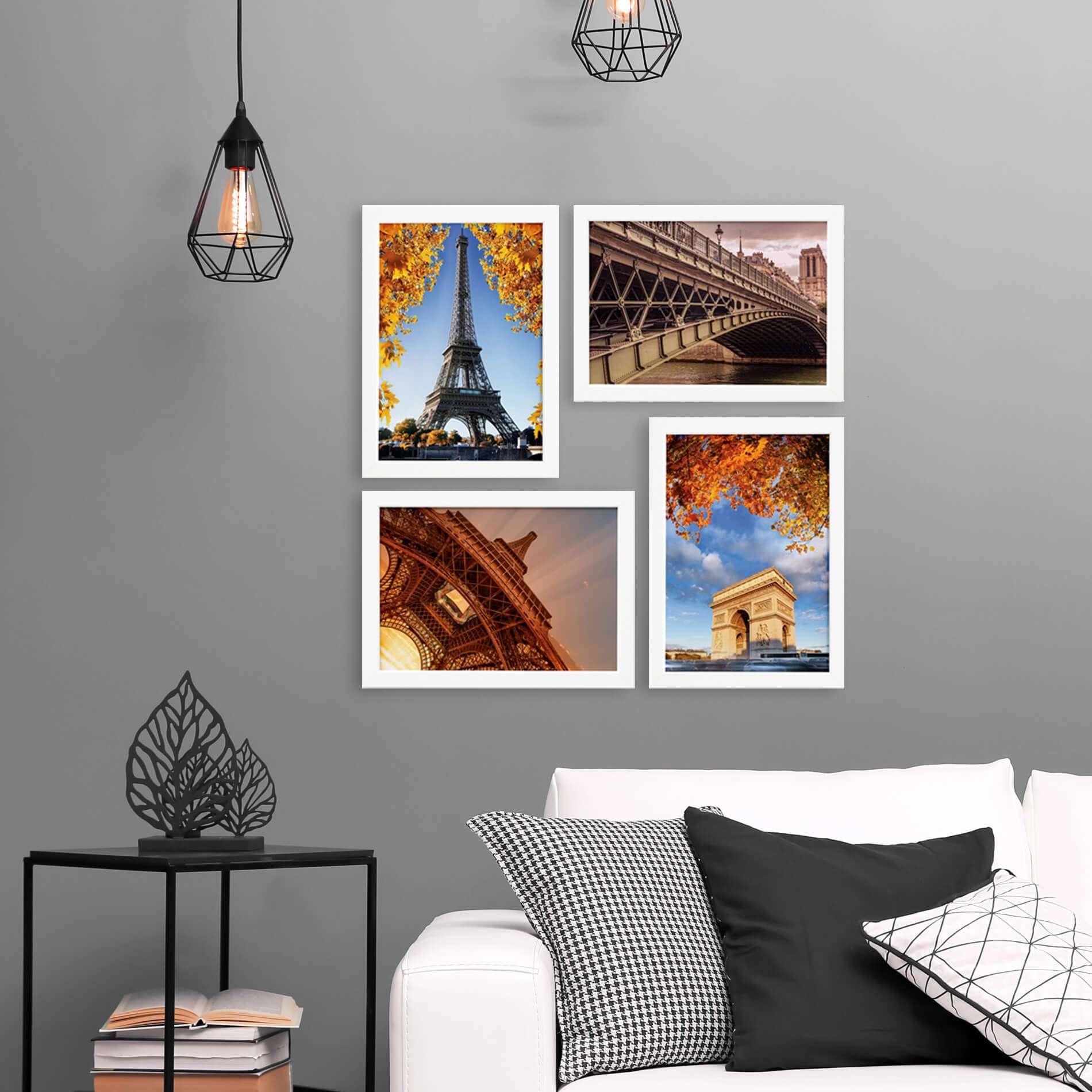 91ae9747b Quadros Paris Fotos para Sala Moldura Branca 22x32cm Kit 4un