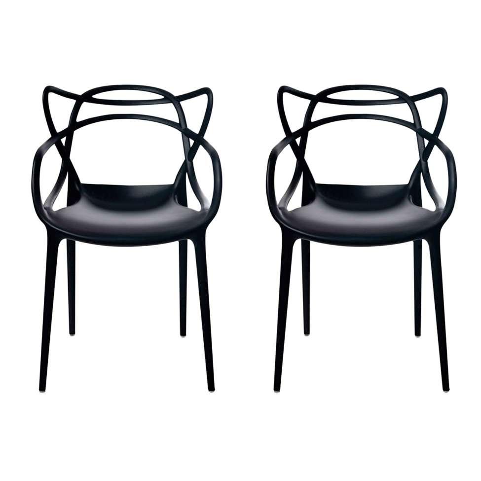 54d393212d68 Conjunto com 2 Cadeiras Allegra Preta