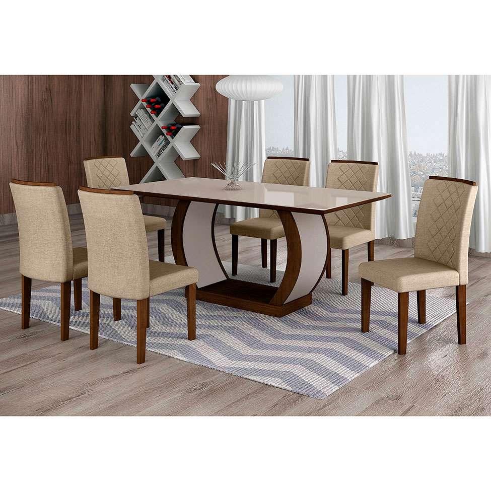 Foto 6 Foto 6: Conjunto De Mesa De Jantar Com 6 Cadeiras Maia I Linho