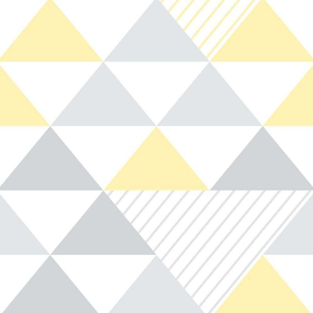 e4045b923 Papel de Parede Adesivo Geométrico Triângulos Amarelo e Cinza