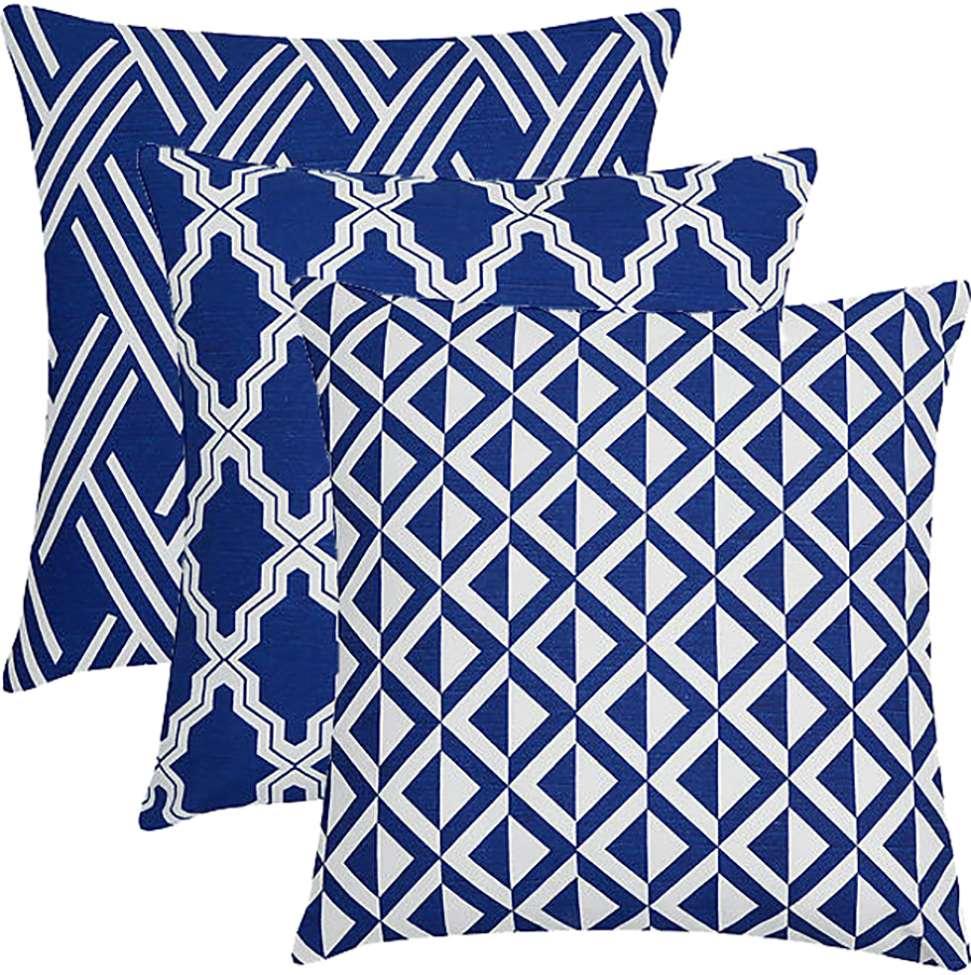 fe758b90d3d180 Conjunto com 3 Capas para Almofadas Flame Geométrico Azul Marinho