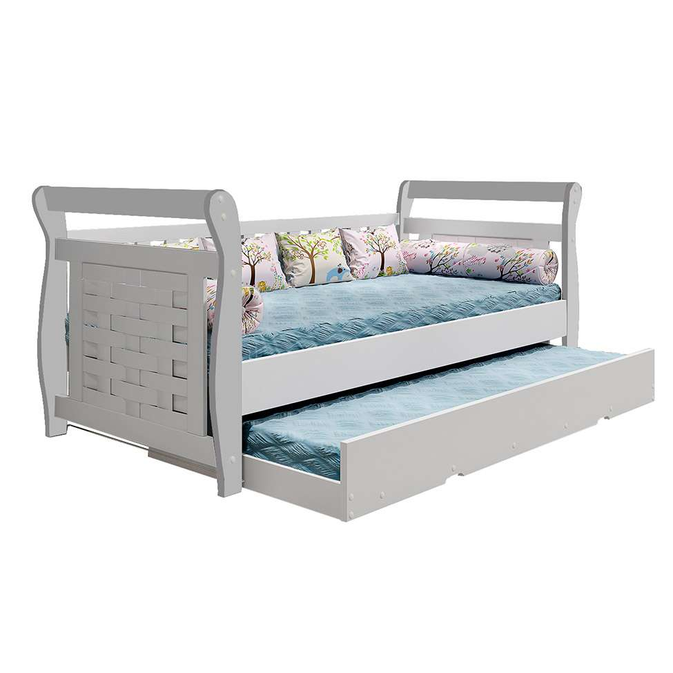 Cama solteiro com cama auxiliar happy branca - Mesa auxiliar de cama ...