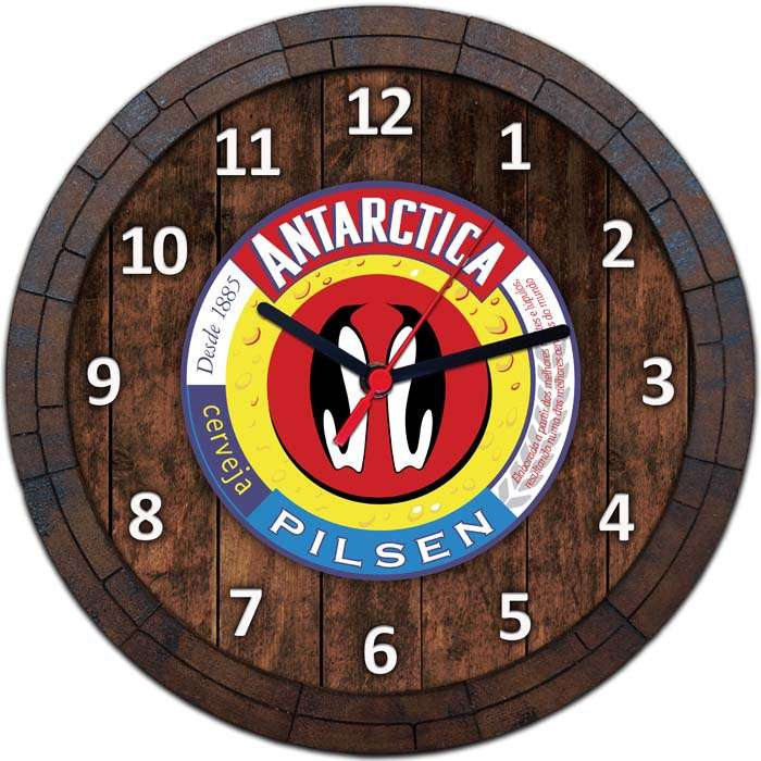 bfff66756b8 Relógio De Parede Quadro Tampa De Barril Tema Cervejas Vodka Bebidas W-003