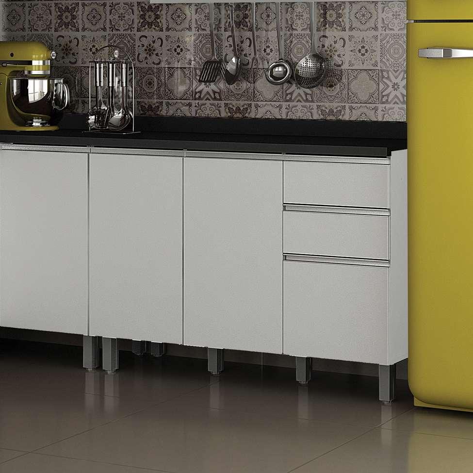 Balcão De Cozinha Turquesa Com Tampo 3 Pt 2 Gv Branco Brilho