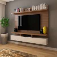 Painel para TV 50 Polegadas Zeus Natural e Off White 184 cm
