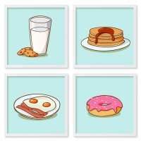 Quadros 20X20 (4 Uni) Nerderia Breakfast Cartoon 01