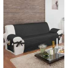 Protetor Para Sofá De 04 Lugares Com Assento De 2,20M Com Laços No Braço E Fitas No Encosto Preto