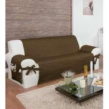 Protetor Para Sofá De 04 Lugares Com Assento De 2,20M Com Laços No Braço E Fitas No Encosto Tabaco