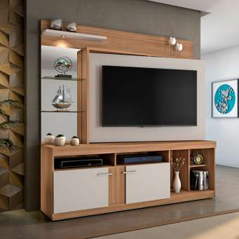 2b3ae17a9e ... Estante para Home Theater e TV até 60 Polegadas Brasil Naturale e Off  White