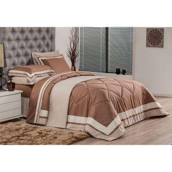 4159453cf1 ... Jogo de Cama Solteiro Soft Comfort Marrom Escuro