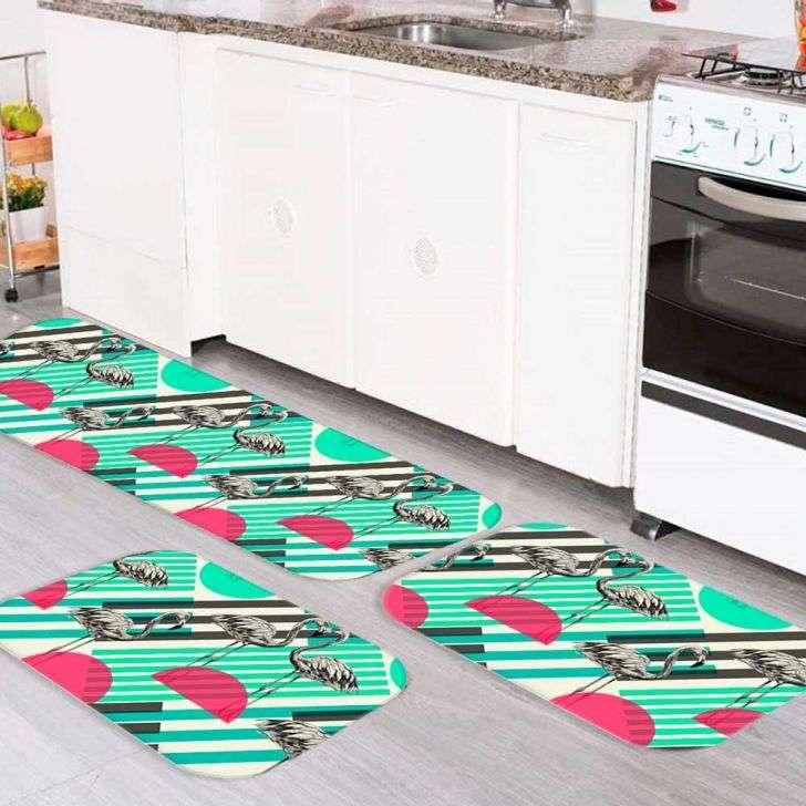 537ec0bae Kit Tapete de Cozinha Flamingos Único